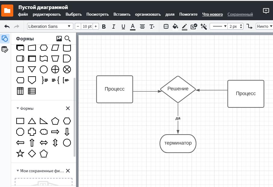 Пример создания диаграммы в Lucidchart