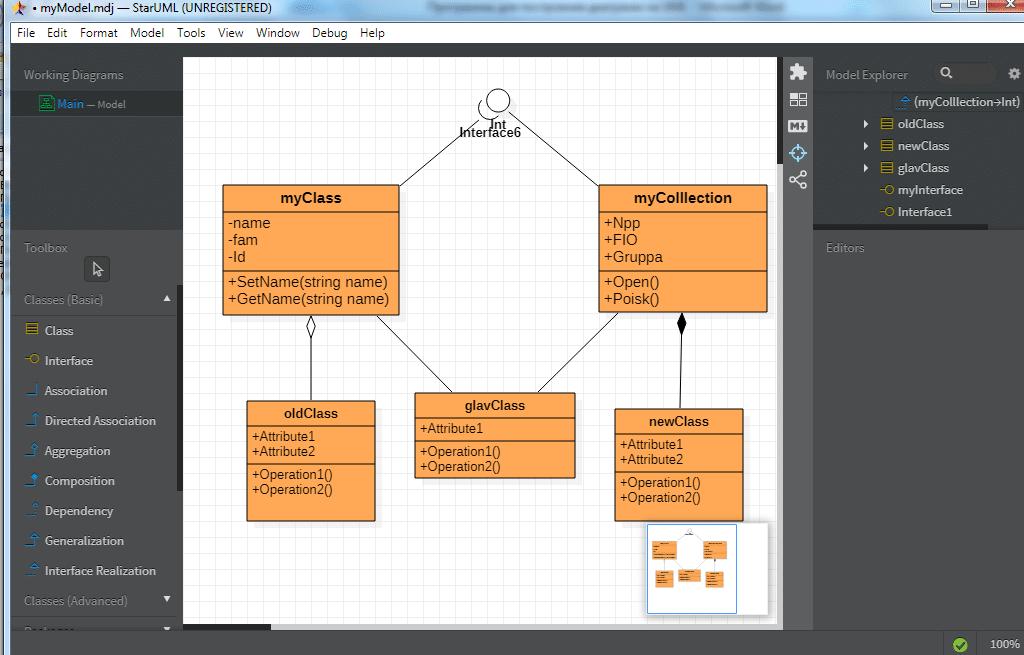 Построенная UML диаграмма классов