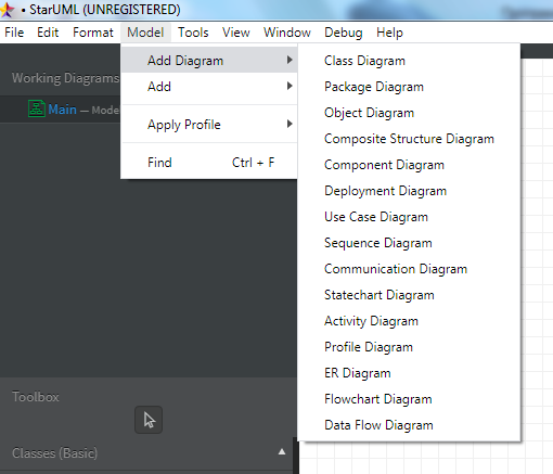 Построение UML диаграмм выбор типа