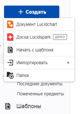 ФормаLucidchart для создания документа Построение UML диаграмм
