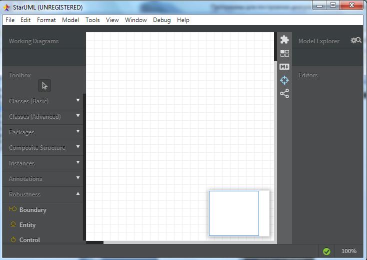 Построение UML диаграмм - рабочее поле
